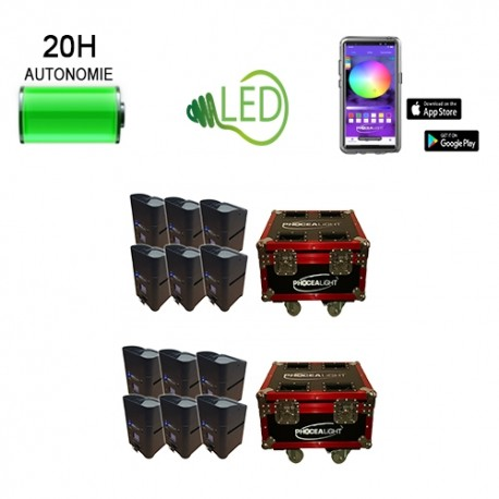 Kit 12 box Led's sur batterie 6x15W HF + Wifi - Location